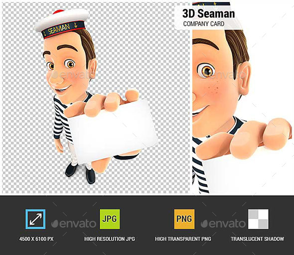 GraphicRiver 3D Seaman Holding Company Card 21022372