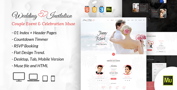 ThemeForest Wedding Invitation Couple Event & Celebration Muse Template 21022380