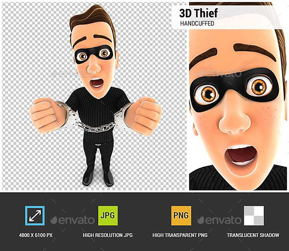 3D Thief Under Arrest and Handcuffed - Characters 3D Renders