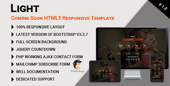 Light - Coming Soon HTML5 Responsive Template - Under Construction Specialty Pages