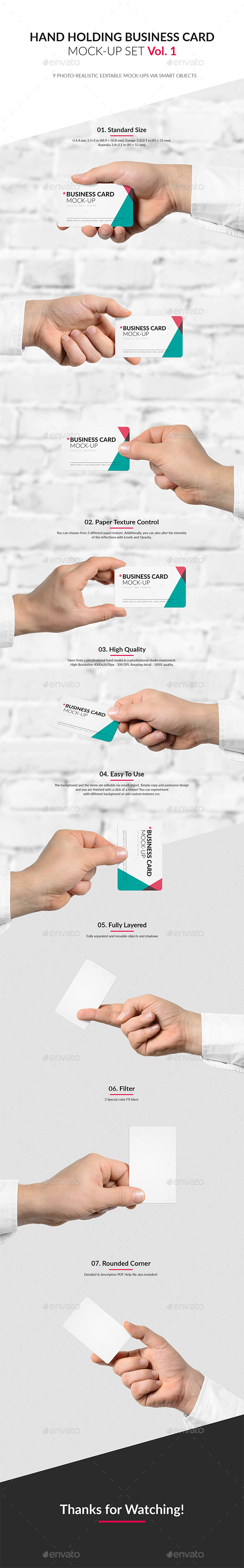 Hand Holding Business Card Mock-Up Set Vol.1 - Business Cards Print