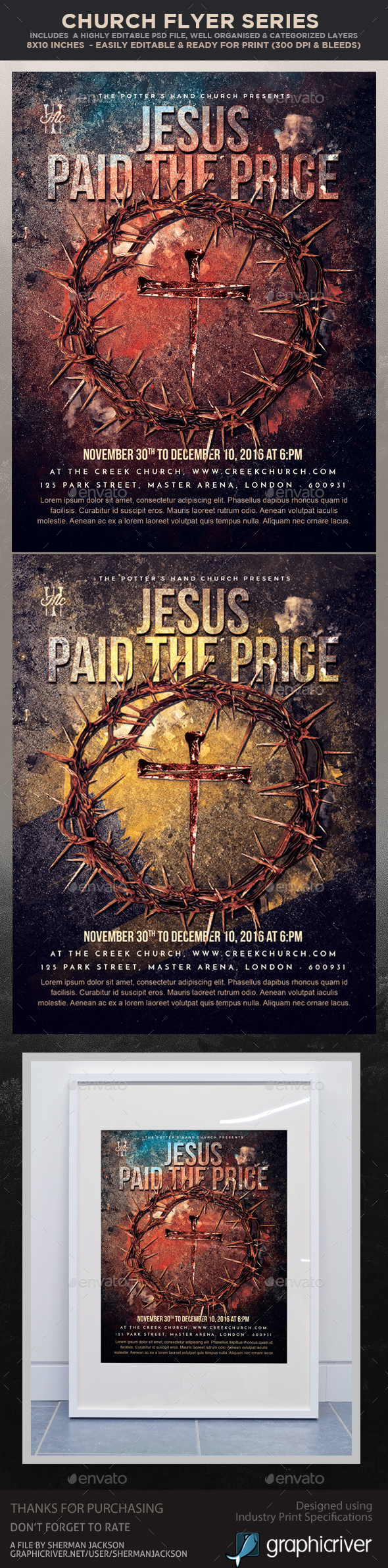 GraphicRiver Church Themed Event Poster Paid the Price 21022529