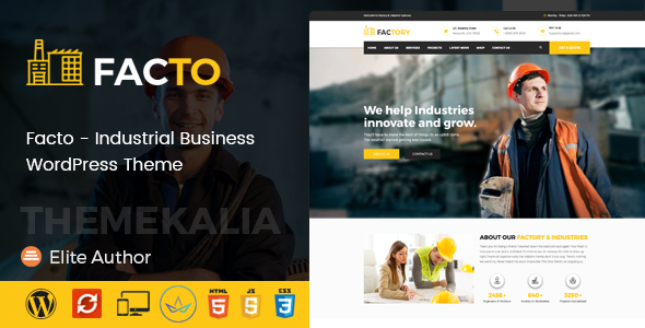 Image of Facto - Industrial Business WordPress Theme