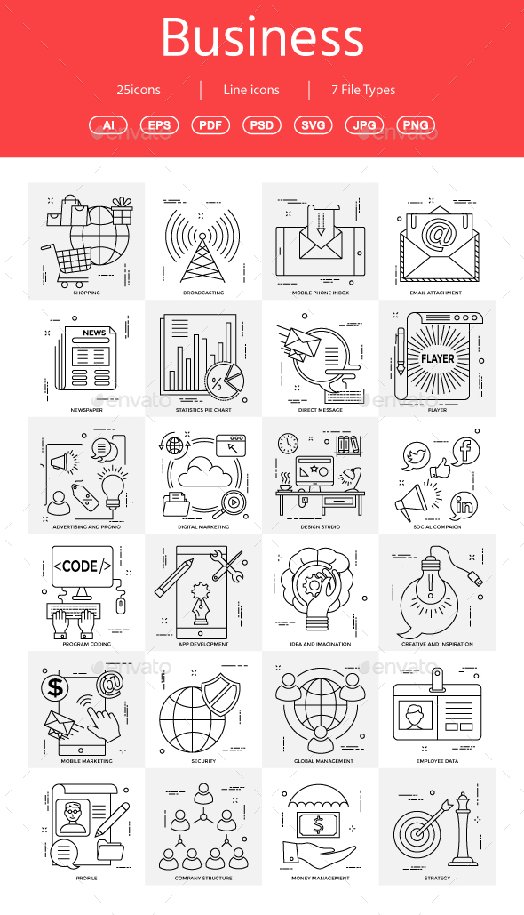 15+ Vector Business Illustration vol 7 - Business Icons