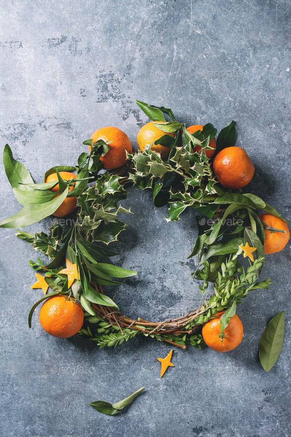 Christmas wreath with tangerines - Stock Photo - Images