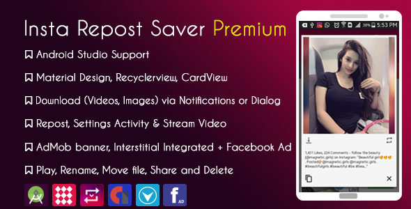 Instagram Repost Downloader Premium + Facebook Audience Network with Native Ads - CodeCanyon Item for Sale