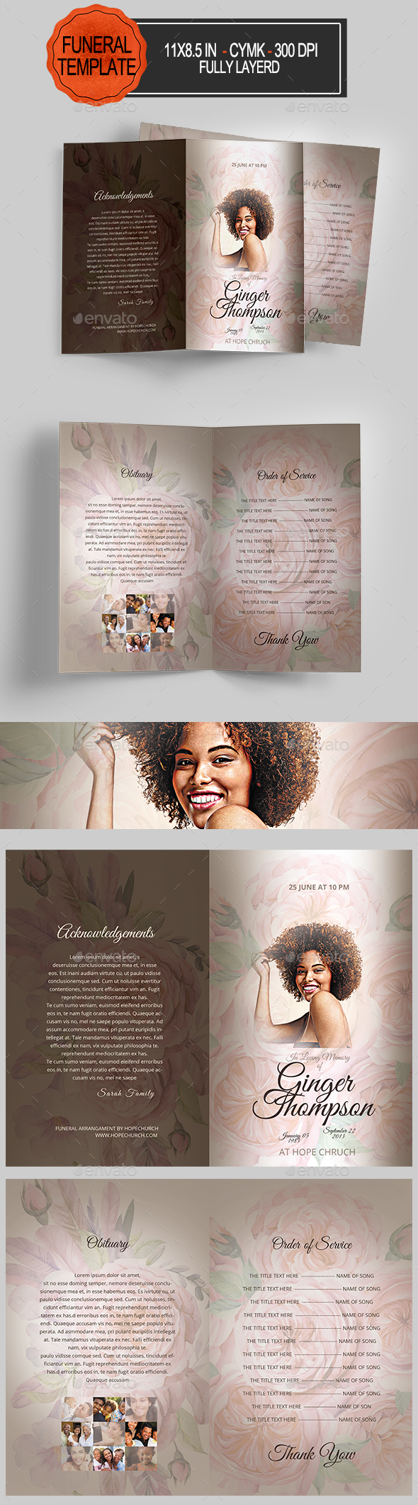 GraphicRiver Funeral Program Template 21023292