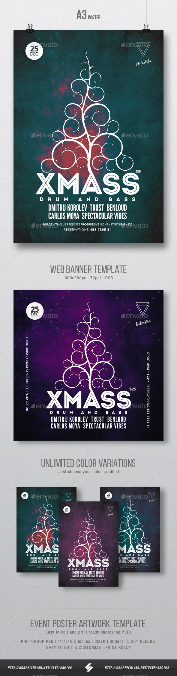 Xmass - Party Flyer / Poster Artwork Template A3 - Clubs & Parties Events