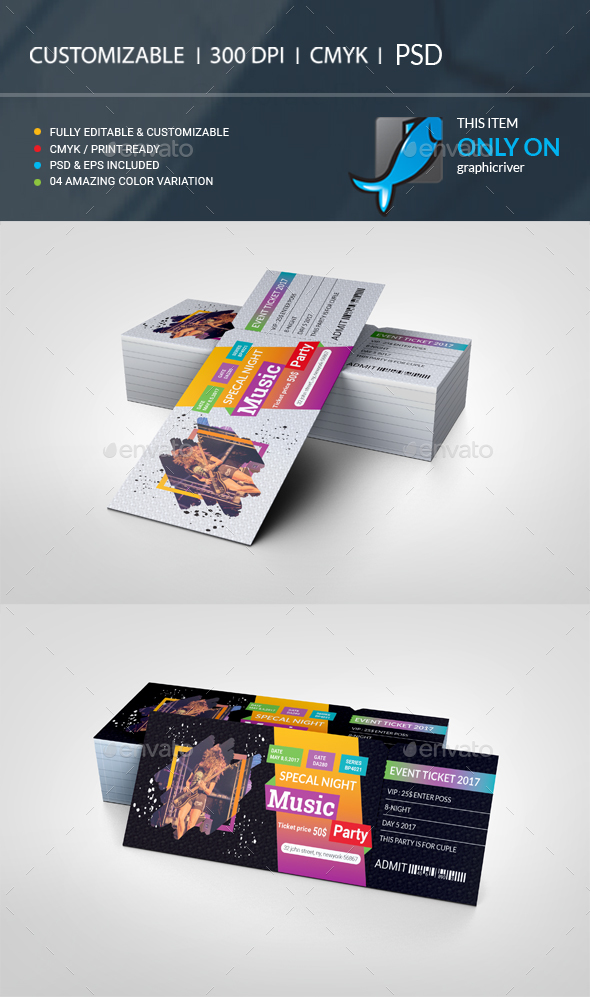 GraphicRiver Event Ticket VIP Pass 21023479