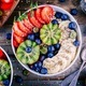 Breakfast bowl: oatmeal with banana, kiwi, strawberry, blueberries and chia seeds - PhotoDune Item for Sale