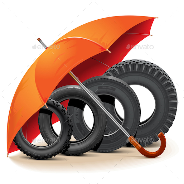 Vector Car Tires with Umbrella - Industries Business