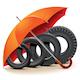 Vector Car Tires with Umbrella