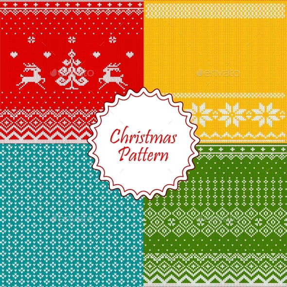 GraphicRiver Christmas Knitted Patterns 21023696