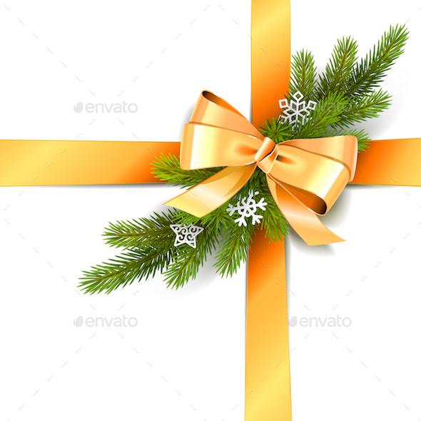 Vector Golden Bow with Fir Branch - Christmas Seasons/Holidays