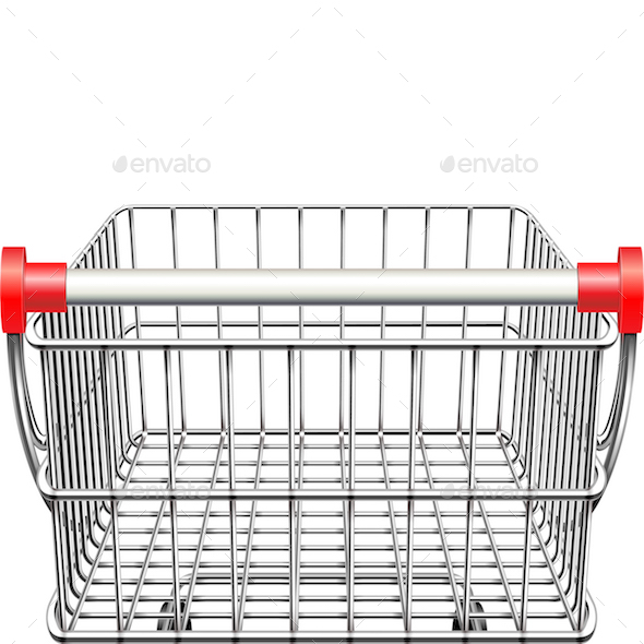 Vector Supermarket Cart Rear View - Retail Commercial / Shopping