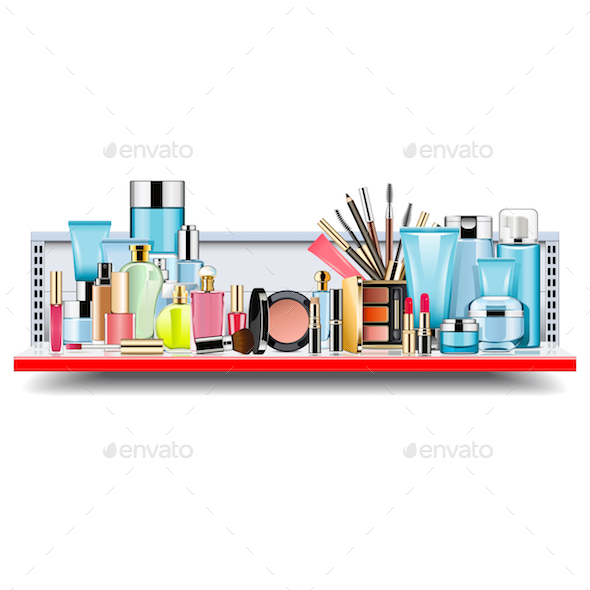 GraphicRiver Vector Supermarket Shelf with Cosmetics 21023757