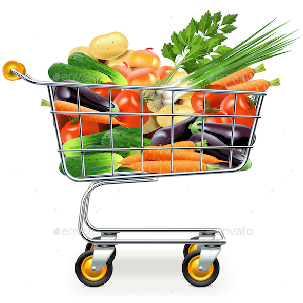 Vector Supermarket Trolley with Vegetables - Food Objects