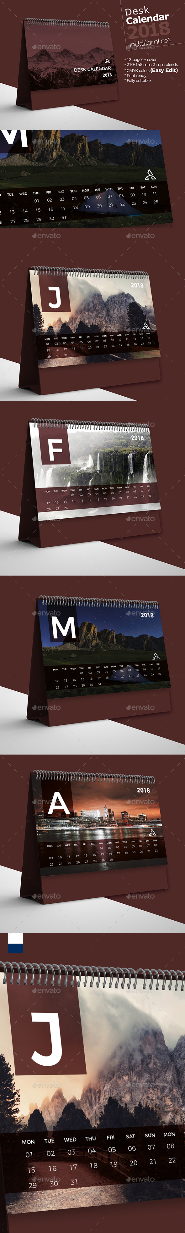 GraphicRiver Desk Calendar 2018 21023772