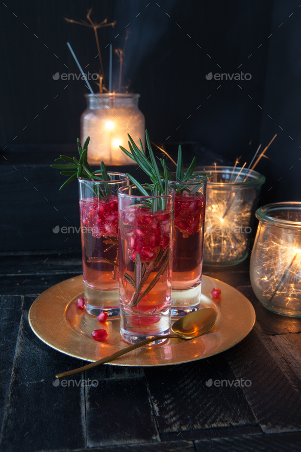 Cocktail with pomegranate and rosemary - Stock Photo - Images