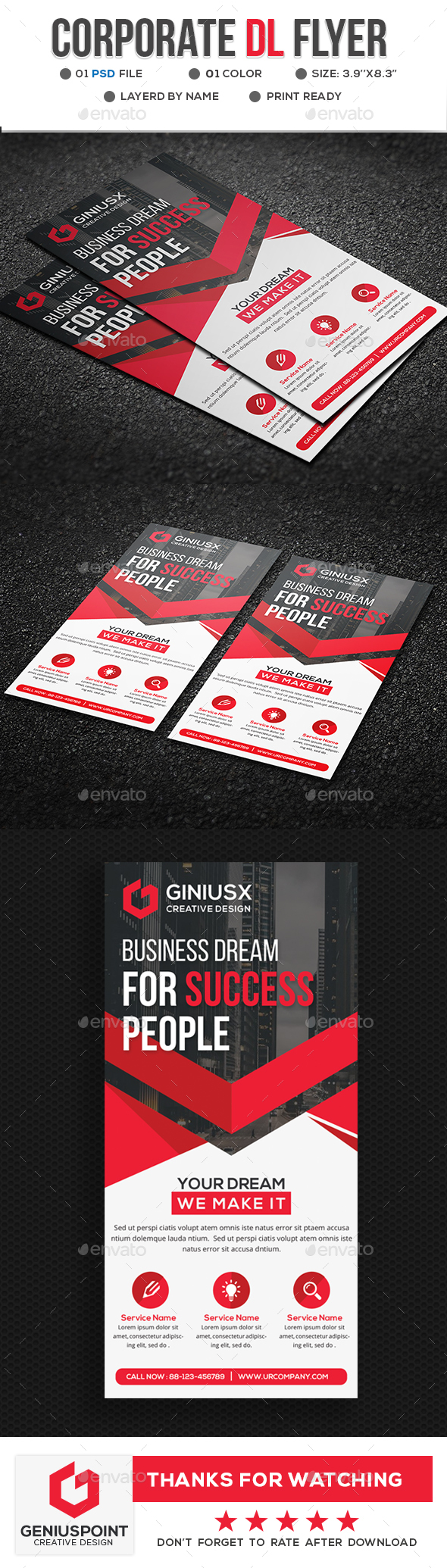 Corporate DL-Flyer Template - Flyers Print Templates