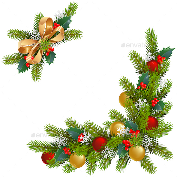 Vector Christmas Corner Decorations - Christmas Seasons/Holidays