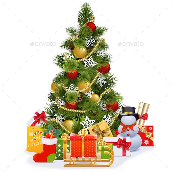 Vector Christmas Tree with Sledge - Christmas Seasons/Holidays