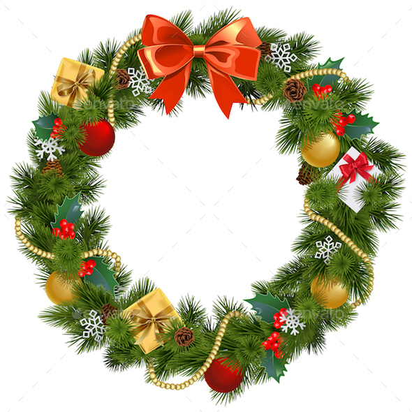 vector christmas wreath with mistletoe christmas seasonsholidays - Mistletoe Christmas Decoration