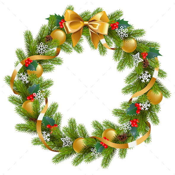 vector fir wreath with mistletoe christmas seasonsholidays - Mistletoe Christmas