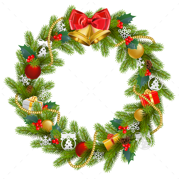 vector fir wreath with red mistletoe christmas seasonsholidays