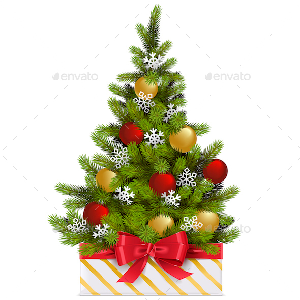Vector Gift Box with Christmas Tree - Christmas Seasons/Holidays