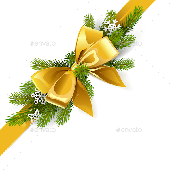 Vector Gold Bow with Fir Branch - Christmas Seasons/Holidays