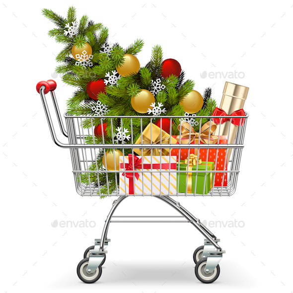 GraphicRiver Vector Supermarket Cart with Christmas Tree 21024135