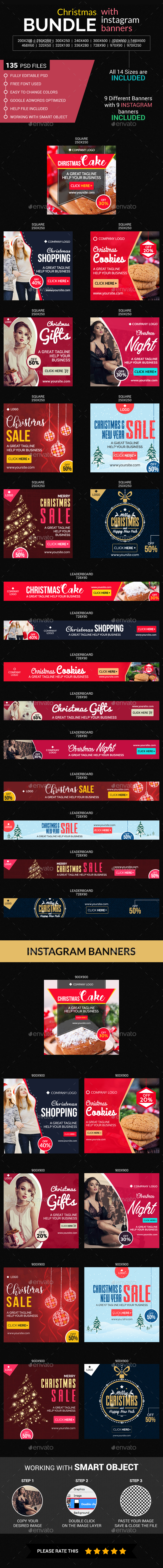 Christmas and instagram Bundle (9 sets) - Banners & Ads Web Elements