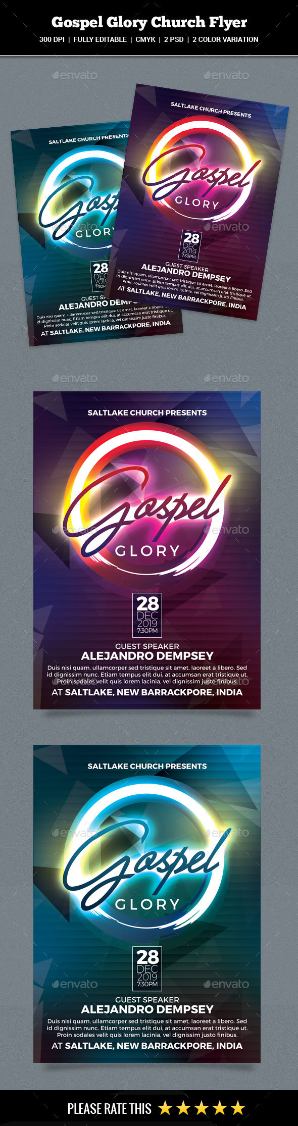 GraphicRiver Gospel Glory Church Flyer 21024425