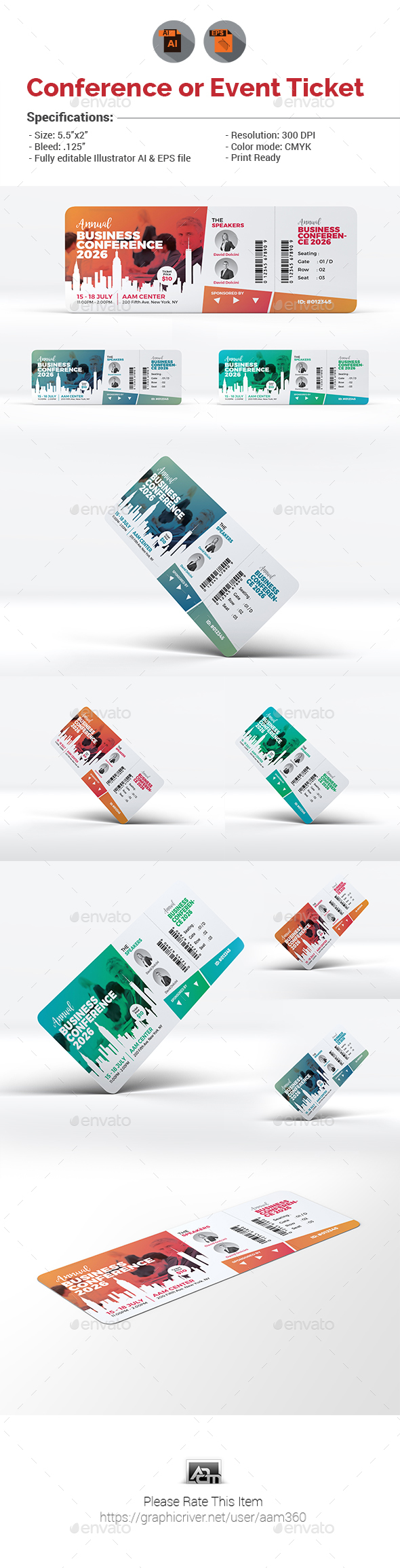 GraphicRiver Event Conference Ticket Template 21024462