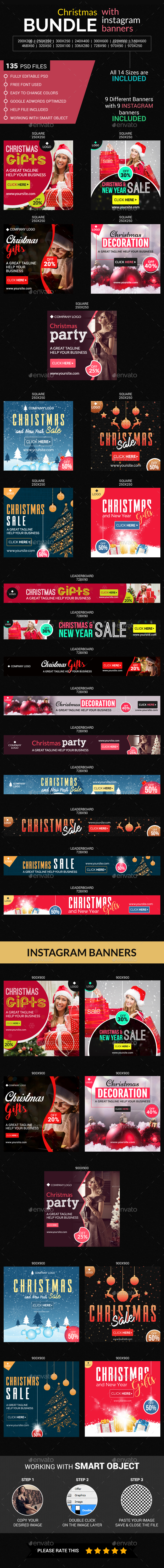 Christmas Big  Banner Bundle (09 sets) with Instagram Templates - Banners & Ads Web Elements