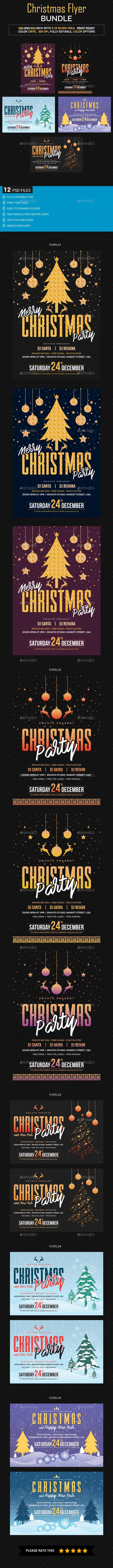 Christmas Flyer Bundle_02 (5 sets) - Holidays Events
