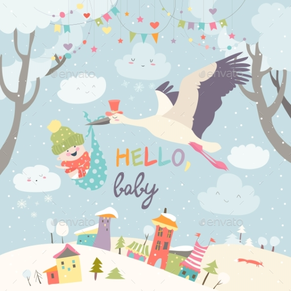 GraphicRiver Stork Bird with Baby 21024593