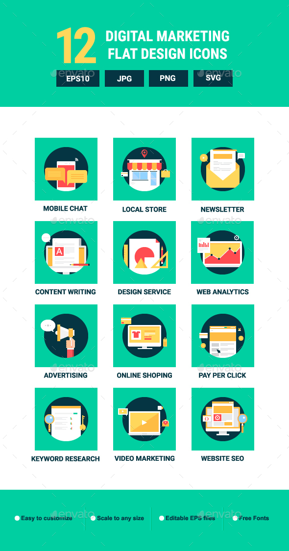 GraphicRiver 12 Flat digital marketing icons 21024616
