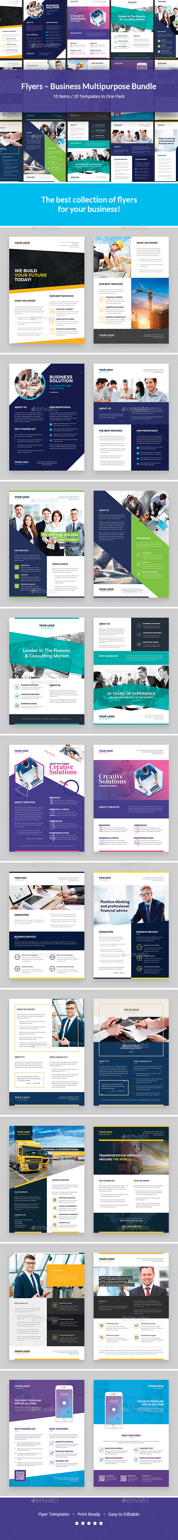 Flyers – Business Multipurpose Bundle 10 in 1 - Corporate Flyers