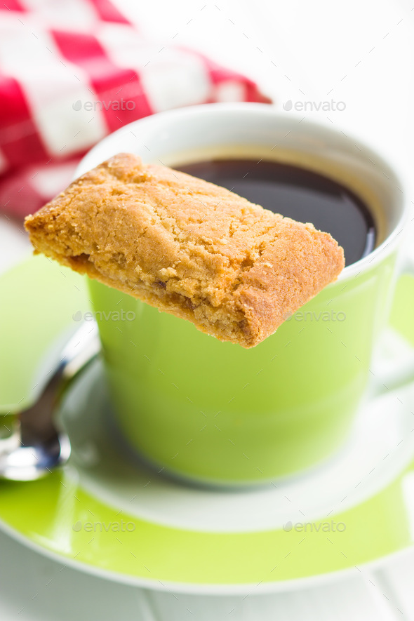 Sweet cookies and coffee cup. - Stock Photo - Images