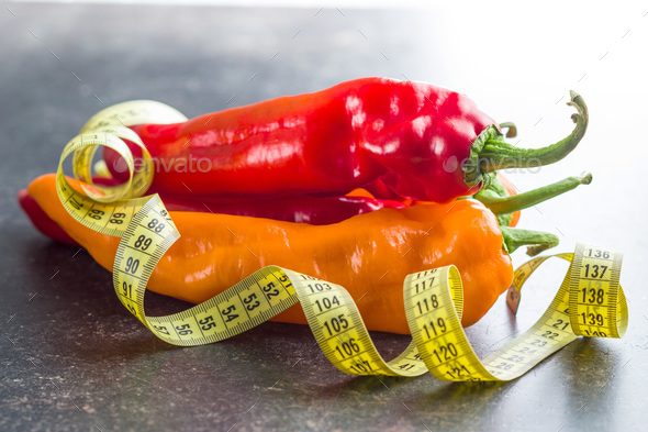 Orange and red peppers. - Stock Photo - Images
