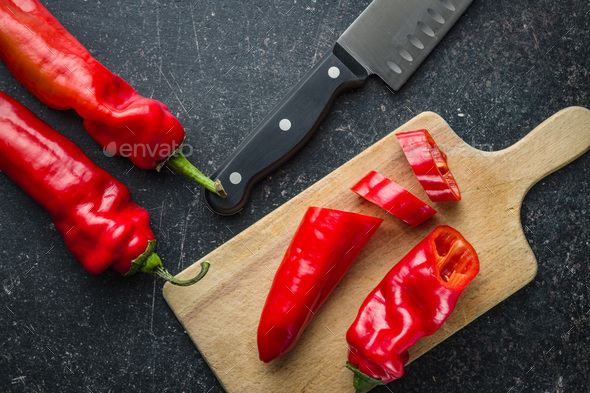 Sliced red pepper. - Stock Photo - Images