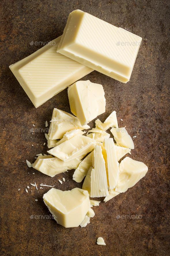 Chopped white chocolate. - Stock Photo - Images