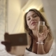 Beautiful Woman Drinks White Wine and Takes Selfshot on Bed - VideoHive Item for Sale