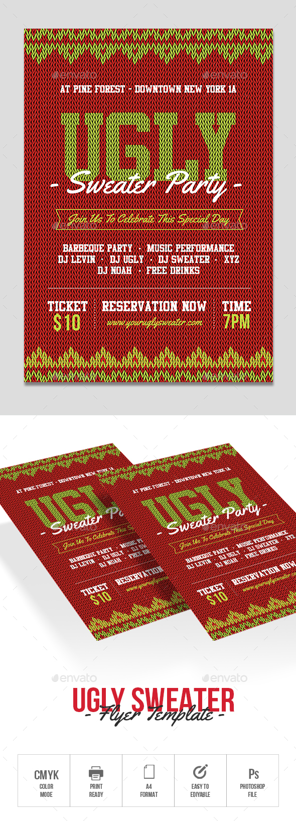 GraphicRiver Ugly Sweater Party Flyer Template 21025538