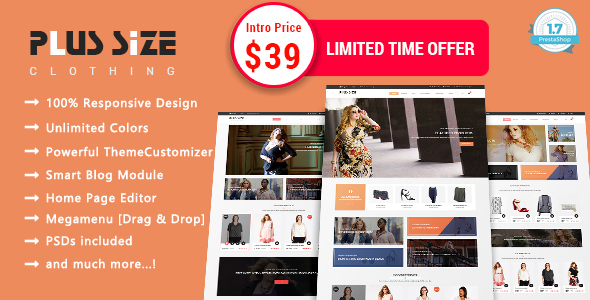 ThemeForest Plus Size Clothing Responsive Prestashop 1.7 Theme 20925761