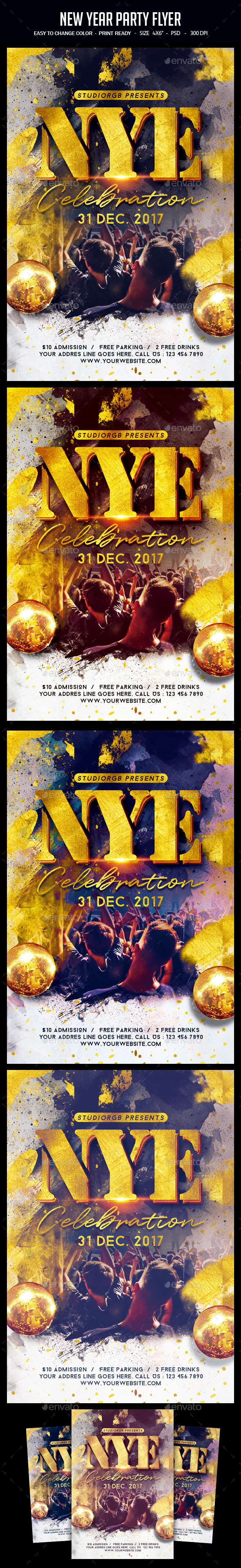 GraphicRiver New Year Party Flyer 21025576