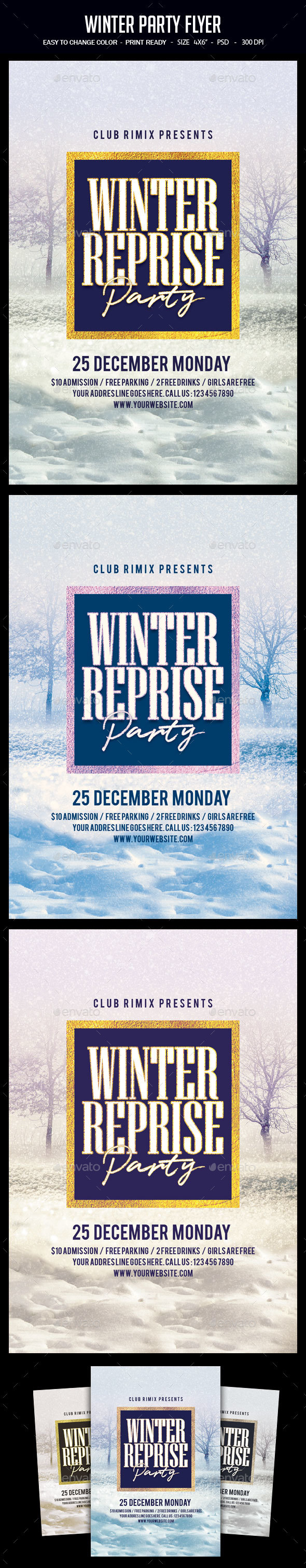 GraphicRiver Winter Party Flyer 21025591