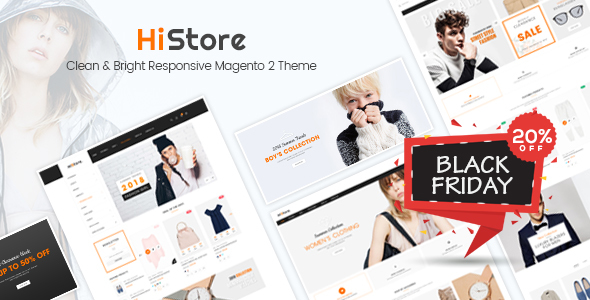 HiStore - Clean and Bright Responsive Magento 2 Theme - Magento eCommerce